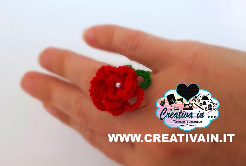 Anello con rosa 3D a chiacchierino. Schema e tutorial