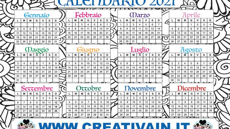 Calendario 2021 da stampare gratis e colorare. Scaricalo subito