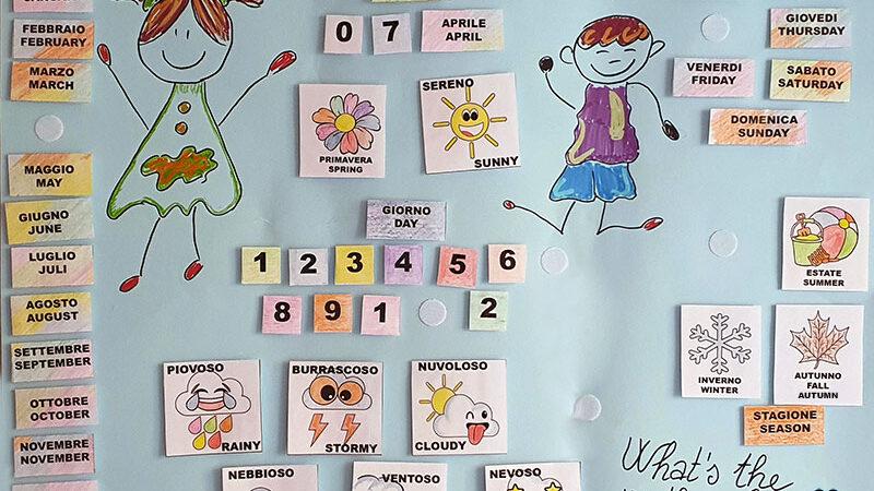 Calendario perpetuo fai-da-te italiano-inglese. Tutorial e cartamodello