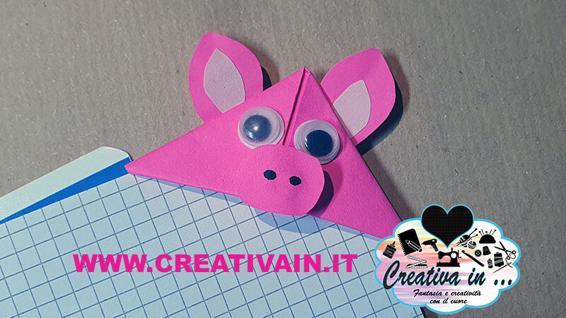 Segnalibro origami maialino. Videotutorial